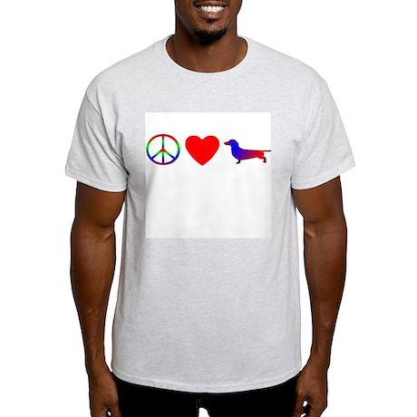 Peace, Love, Dachshund Light T-Shirt