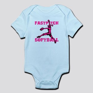 Distressed Fastpitch Infant Bodysuit