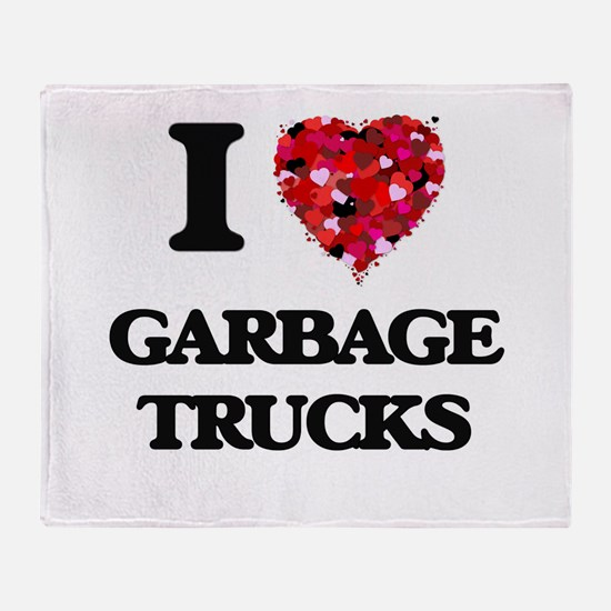 I love Garbage Trucks Throw Blanket