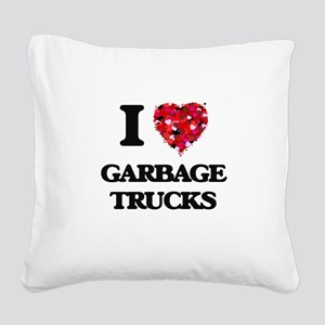 I love Garbage Trucks Square Canvas Pillow