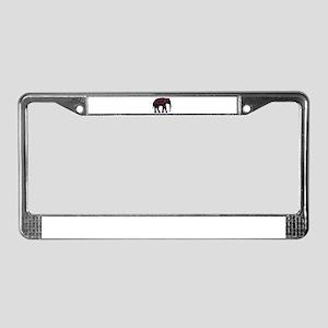 Tribal Metallic Elephant License Plate Frame