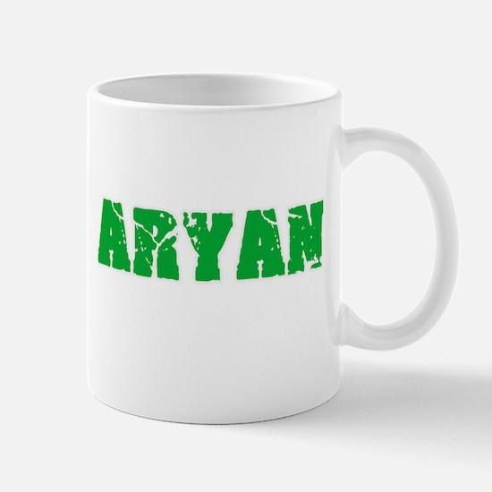 Aryan Name Weathered Green Design Mugs