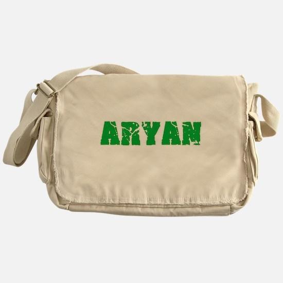 Aryan Name Weathered Green Design Messenger Bag