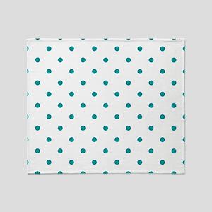 Blue, Teal: Polka Dots Pattern (Smal Throw Blanket