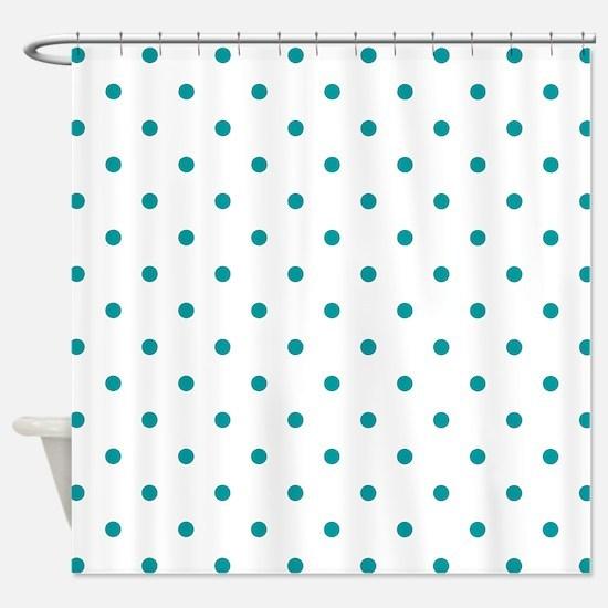 Blue, Teal: Polka Dots Pattern (Sma Shower Curtain