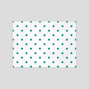 Blue, Teal: Polka Dots Pattern (Sma 5'x7'Area Rug