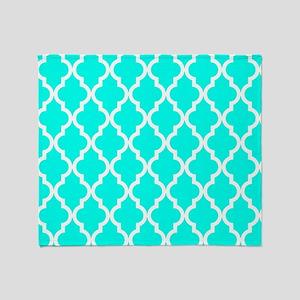 Blue, Turquoise: Quatrefoil Moroccan Throw Blanket