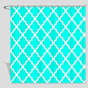 Blue, Turquoise: Quatrefoil Morocca Shower Curtain