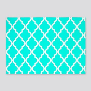 Blue, Turquoise: Quatrefoil Morocca 5'x7'Area Rug