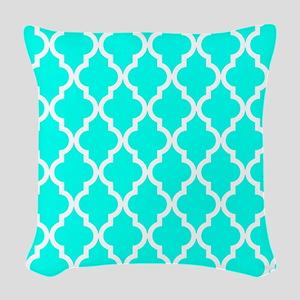 Blue, Turquoise: Quatrefoil Mo Woven Throw Pillow