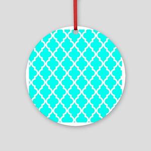 Blue, Turquoise: Quatrefoil Morocca Round Ornament