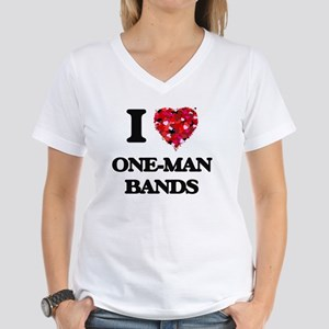 I love One-Man Bands Women's V-Neck T-Shirt