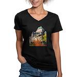 Frontenac Castle Quebec City Women's V-Neck Dark T