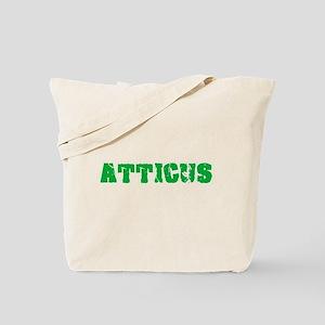 Atticus Name Weathered Green Design Tote Bag