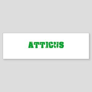 Atticus Name Weathered Green Design Bumper Sticker