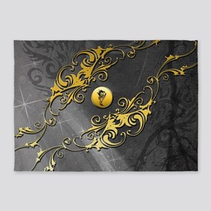 Awesome chinese dragon on yelow button 5'x7'Area R