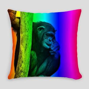Chimpanzee, Rainbow Everyday Pillow