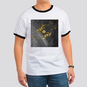Awesome chinese dragon on yelow button T-Shirt