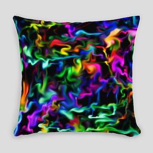 Rainbow Acid Swirls Everyday Pillow