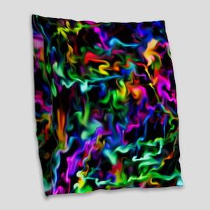 Rainbow Acid Swirls Burlap Throw Pillow