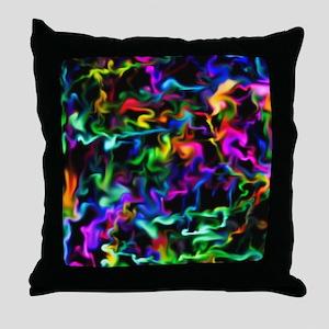 Rainbow Acid Swirls Throw Pillow