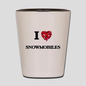 I love Snowmobiles Shot Glass