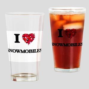 I love Snowmobiles Drinking Glass