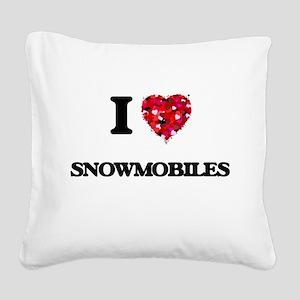 I love Snowmobiles Square Canvas Pillow