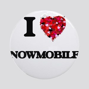 I love Snowmobiles Ornament (Round)
