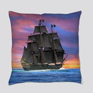 Black Sails of the Caribbean Everyday Pillow