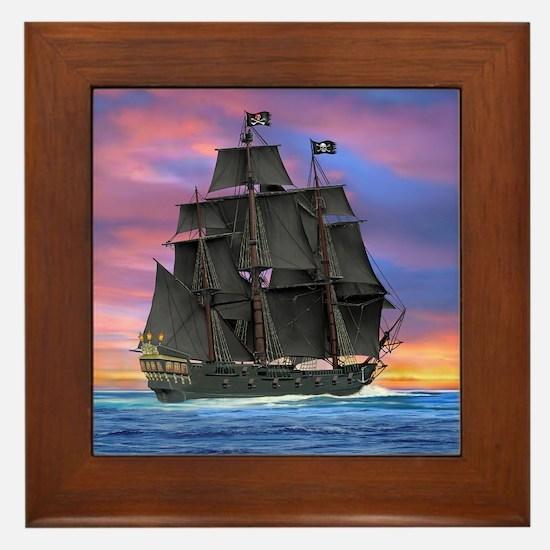 Black Sails of the Caribbean Framed Tile