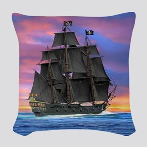Black Sails of the Caribbean Woven Throw Pillow