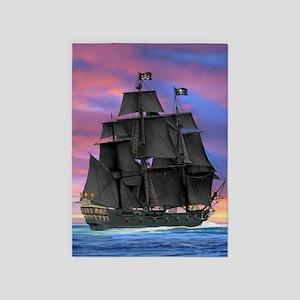 Black Sails of the Caribbean 5'x7'Area Rug