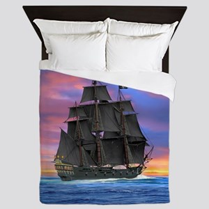 Black Sails of the Caribbean Queen Duvet