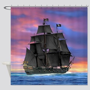Black Sails of the Caribbean Shower Curtain