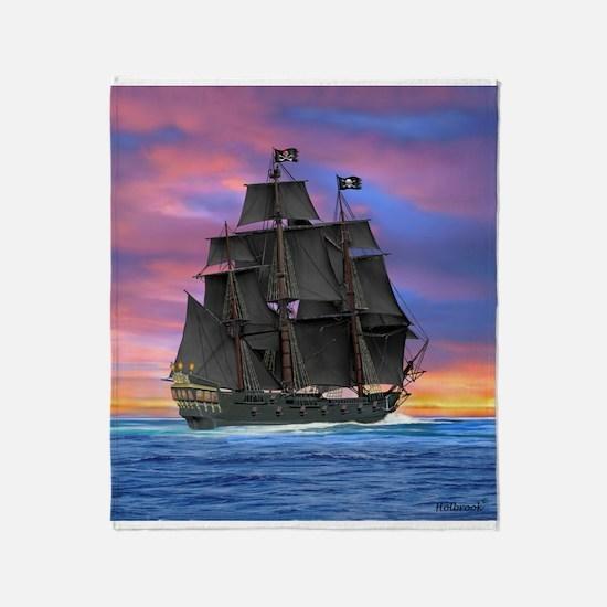 Black Sails of the Caribbean Throw Blanket