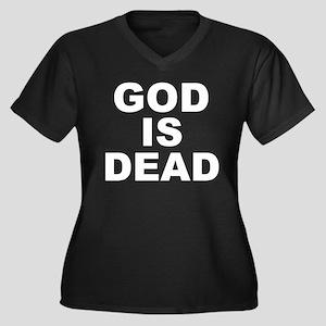 GOD IS DEAD Women's Plus Size V-Neck Dark T-Shirt
