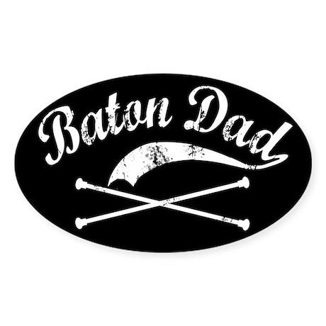 Baton Dad Oval Sticker