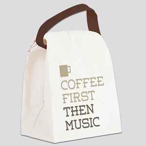 Coffee Then Music Canvas Lunch Bag