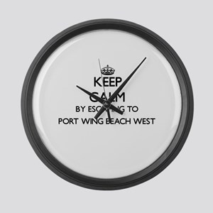 Keep calm by escaping to Port Win Large Wall Clock