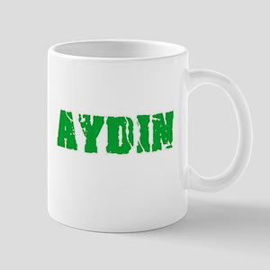 Aydin Name Weathered Green Design Mugs