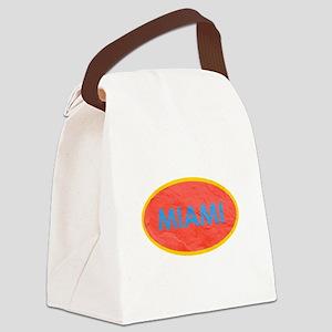 Miami Blue Orange Canvas Lunch Bag