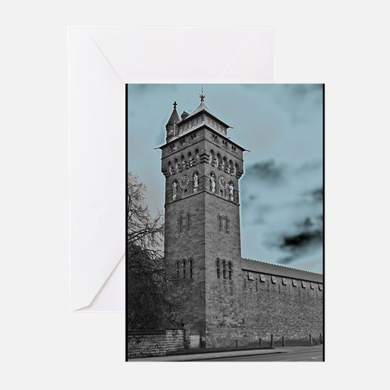 Cardiff Clock Tower - glow 6:9 - Greeting Cards