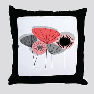 Mid-Century Modern Floral Throw Pillow