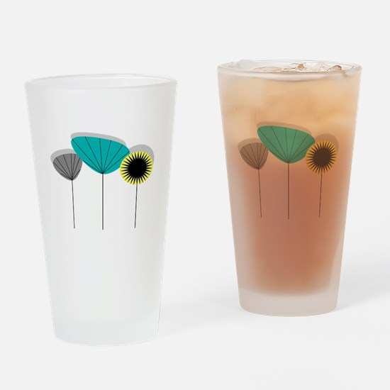 Mid-Century Modern Floral Drinking Glass