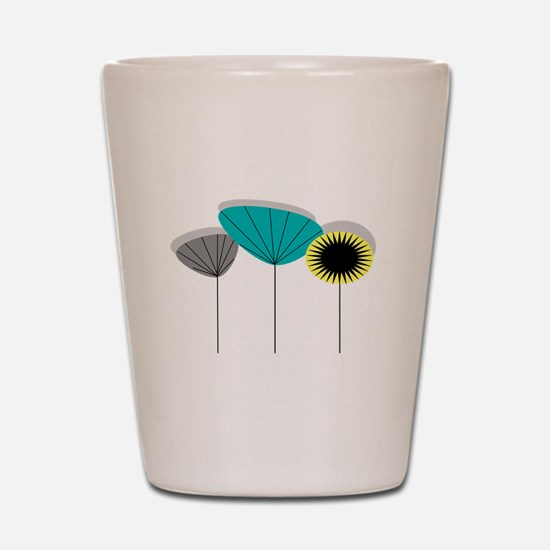 Mid-Century Modern Floral Shot Glass