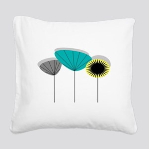 Mid-Century Modern Floral Square Canvas Pillow