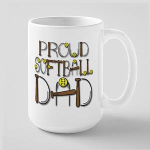 Proud Softball Dad Large Mug