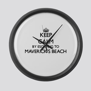 Keep calm by escaping to Maverick Large Wall Clock