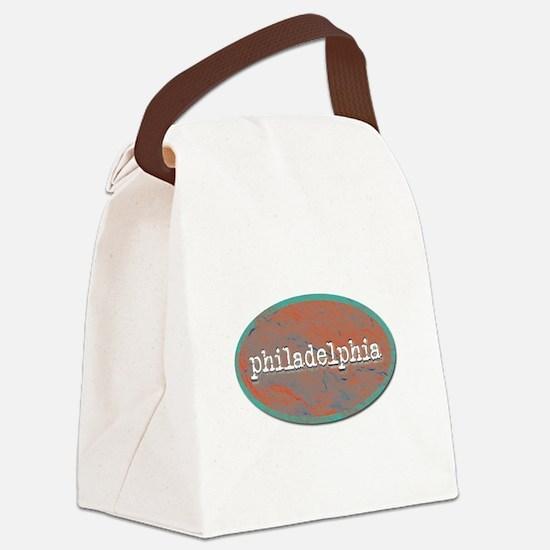 Philadelphia rustic teal Canvas Lunch Bag
